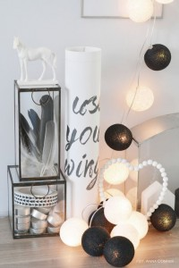 Cotton Ball Lights - Black&white 10 kul