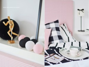 Cotton Ball Lights - Black and Pink 35 kul